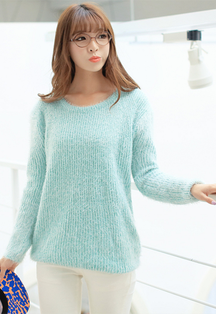 Sweet Mint Green Horse Sea Hair Thickening Knitted Pullovers Women Sweater Free Shipping LY12 13-inPullovers from Apparel & Accessories on Aliexpress.com