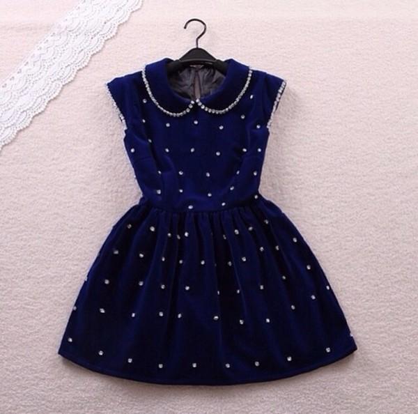 dress dolly dress dolly skater dress blue diamonds navy dress collared dress collar