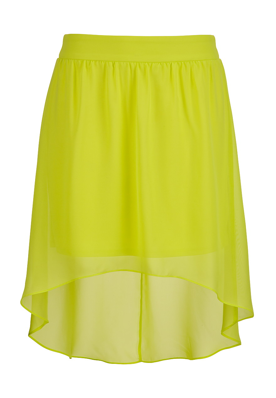 Lime high-low chiffon skirt