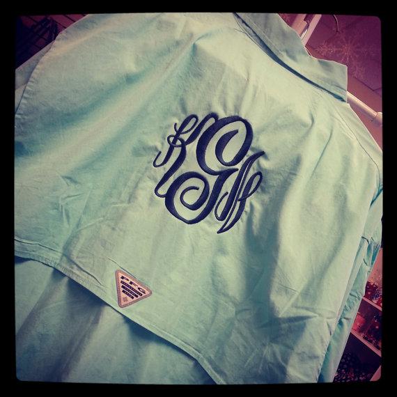 Monogram Columbia Fishing Shirt PFG Font Shown by MONOGRAMSINC