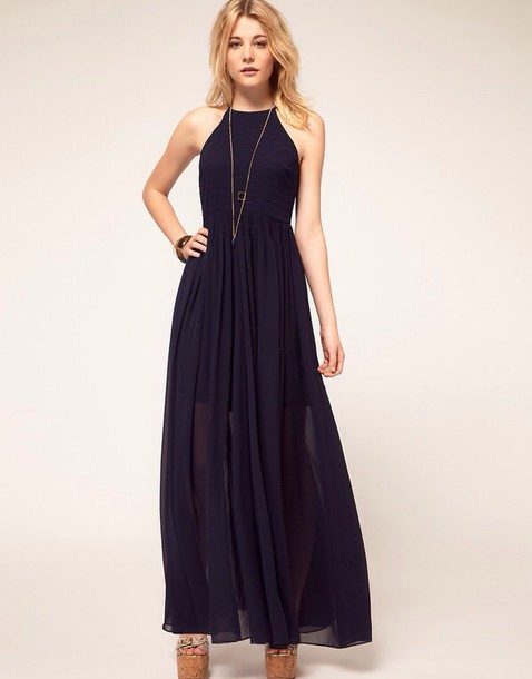 dress navy blue maxi