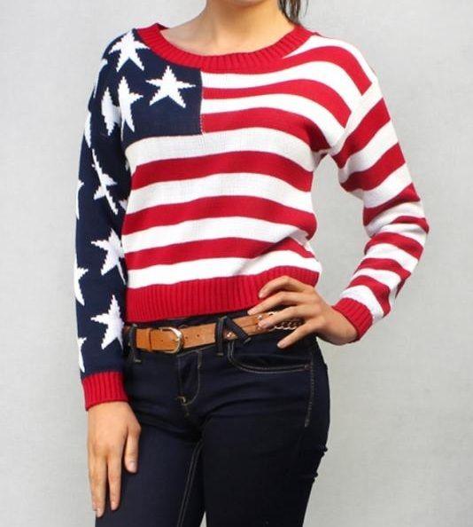 Women Ladies Long Sleeve USA Knitted American Flag Printed Jumper Top 8 14 | eBay