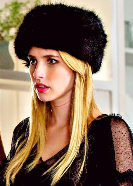 hat faux fur emma roberts fur hat black fur hat scream queens