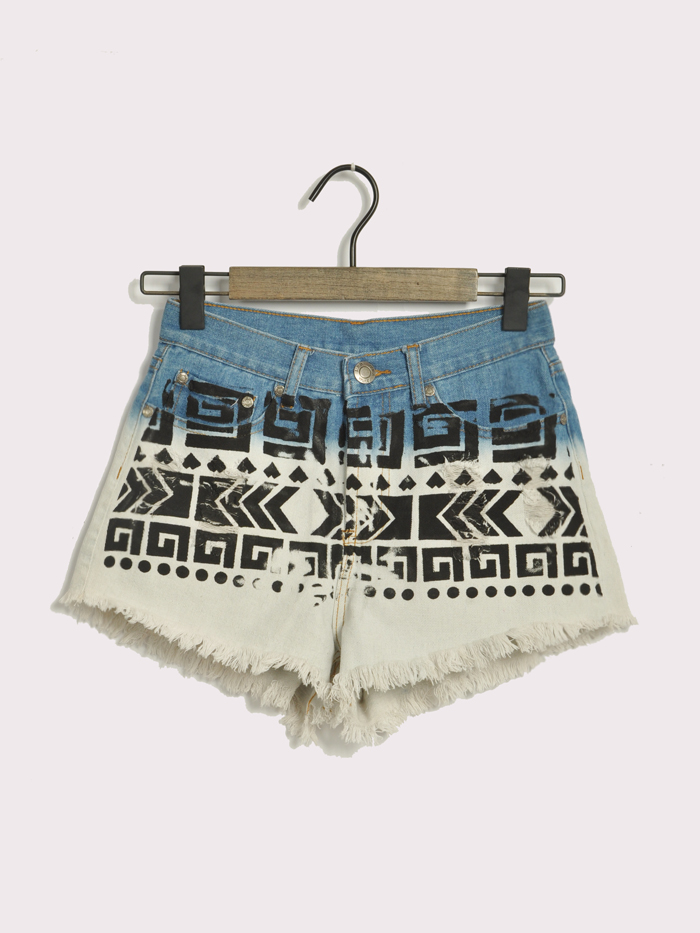 Fashion national trend print gradient color wearing white flash jeans shorts female plus size-inJeans from Apparel & Accessories on Aliexpress.com