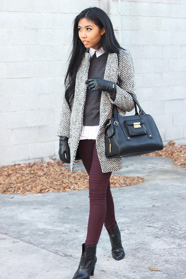 fashion of a novice sweater pants coat shoes bag