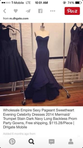 dress navy dress mermaid prom dress