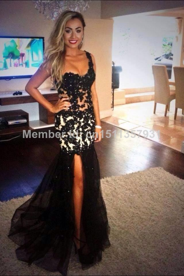 2014 Prom Dresses One Shoulder Black Long Slit See Through Lace Beads Vestidos De Fiesta Hot Sexy Abendkleid Party Pageant Gowns-in Prom Dresses from Apparel & Accessories on Aliexpress.com