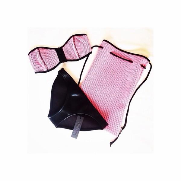 swimwear black leather. pink