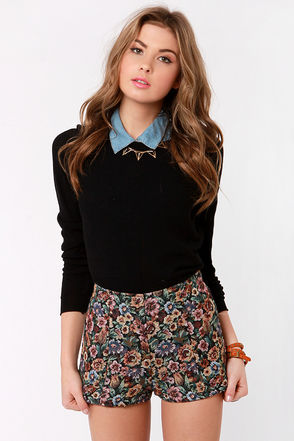 Cute High-Waisted Shorts - Floral Shorts - Tapestry Shorts - $41.00