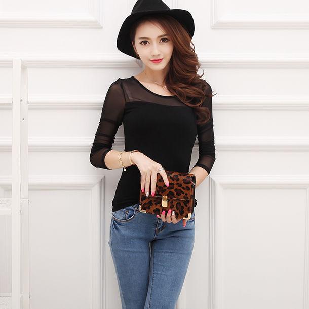 Blouse Korean Fashion Korean Style Ulzzang Mesh Black See Through Sexy Tight Elegant