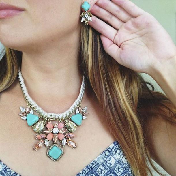 Brand-new jewels, stone, stone jewelry, jewelry, necklace, earrings  FQ36