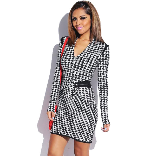 dress hounded houndstooth houndsooth vanityv vanity row dress to kill chic black white zip party mini dress