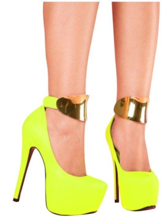 Kiss KOUTURE High Heels Shoes Pumps Stilettos w Metal Ankle Strap Neon Yellow | eBay