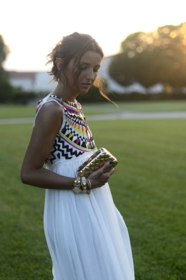 dress white maxi aztec flowy
