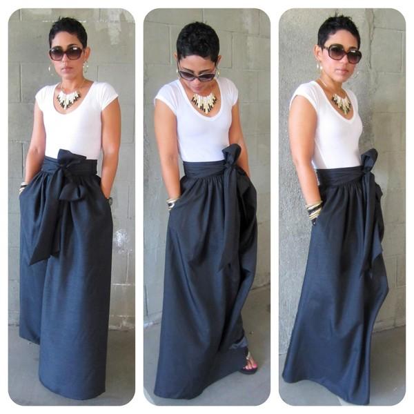 skirt shirt tie skirt blue white long maxi skirt