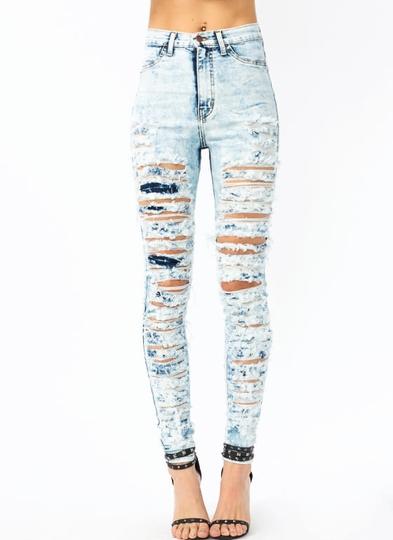 So-Destroyed-Acid-Wash-Jeans LTBLUE DKBLUE - GoJane.com