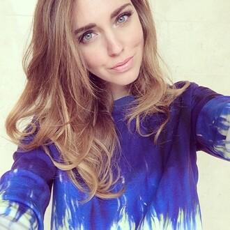 shirt chiara ferragni the blonde salad cute dip dyed long sleeves blue white dye blonde hair blue eyes amazing