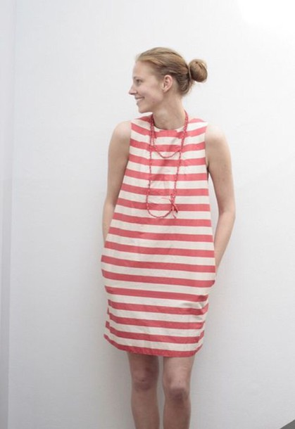 dress side pockets stripes shift dress coral