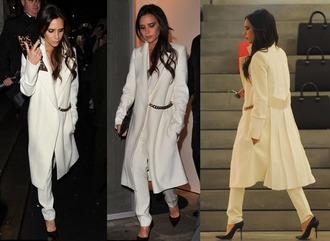 coat white fall outfits winter outfits victoria beckham