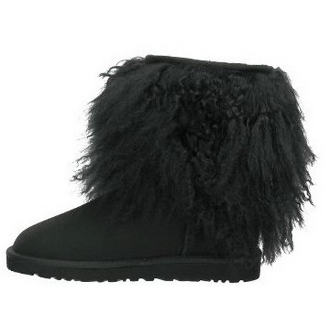 Ugg short sheepskin fur cuff black boots [ugg900022a] - $99.38 : Wholesale Ugg boots, Ugg classic short boots
