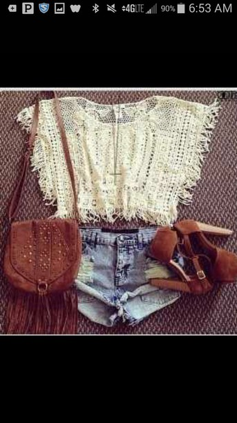 shirt lace shirt shorts shoes bag