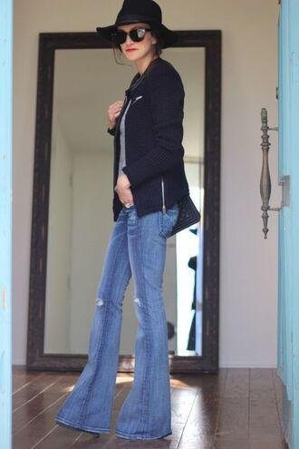 frankie hearts fashion blogger jacket flare pants t-shirt jeans bag hat sunglasses flare jeans kick flare kick flare jeans