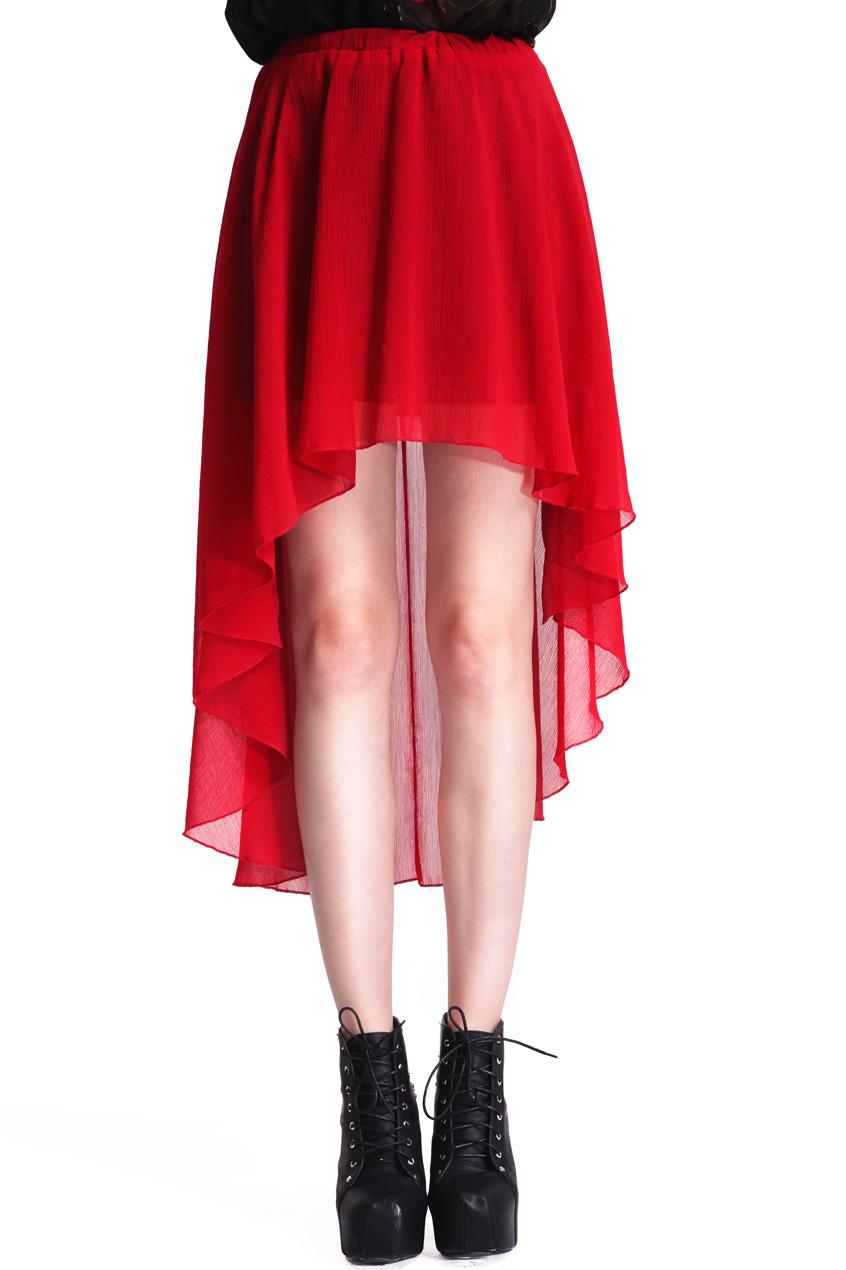 ROMWE | Anomalous Hem Red Skirt, The Latest Street Fashion