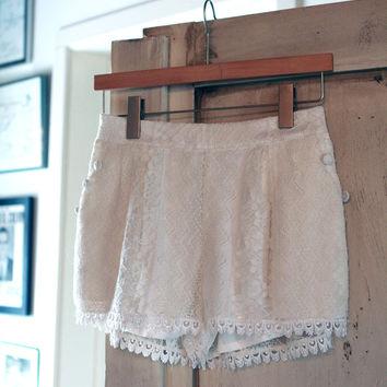 Crochet Lace White Shorts on Wanelo