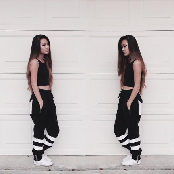 pants black and white pants