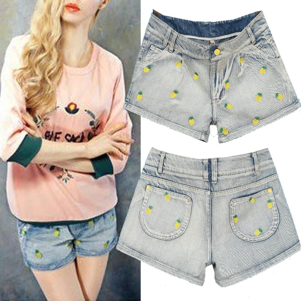 jeans shorts 2014 summer new women fashion Pineapple embroidery shorts    denim shorts  SR2037-in Shorts from Apparel & Accessories on Aliexpress.com