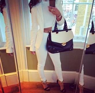 bag shoes high heels blazer black fashion classy top clothes outfit pants blouse white jacket