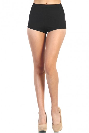 LoveMelrose.com From Harry & Molly | High Waist Fitted Shorts - Black