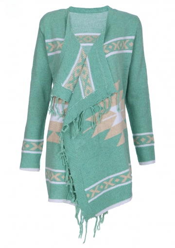 Aztec Fringed Cardigan In Mint - Happiness Boutique