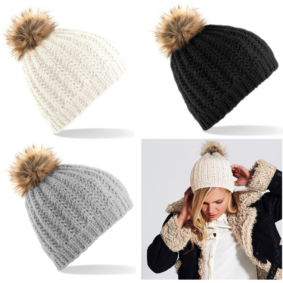 Perfect BNWT Ladies Faux Fur Bobble Beanie Winter Wooly Ladies Girls Pom  QT47