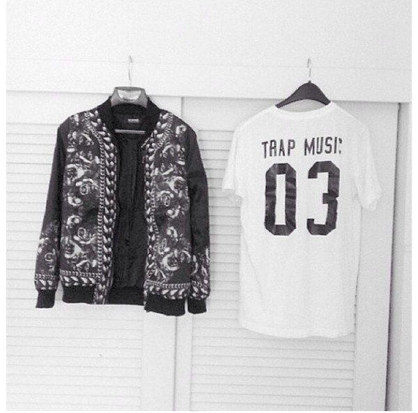 jacket t-shirt black white tank top