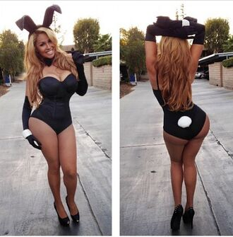 tank top black playboy bunny playboy costume halloween straps bunny ears bodysuit black body suit white body suit
