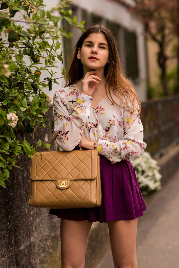 blouse floral flowers bag shorts purple High waisted shorts vintage