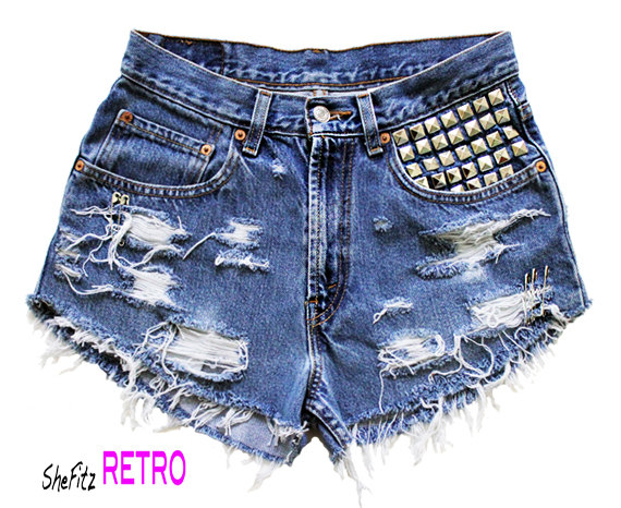 Made To Order High Waisted Studded Distressed by SheFitzRetro