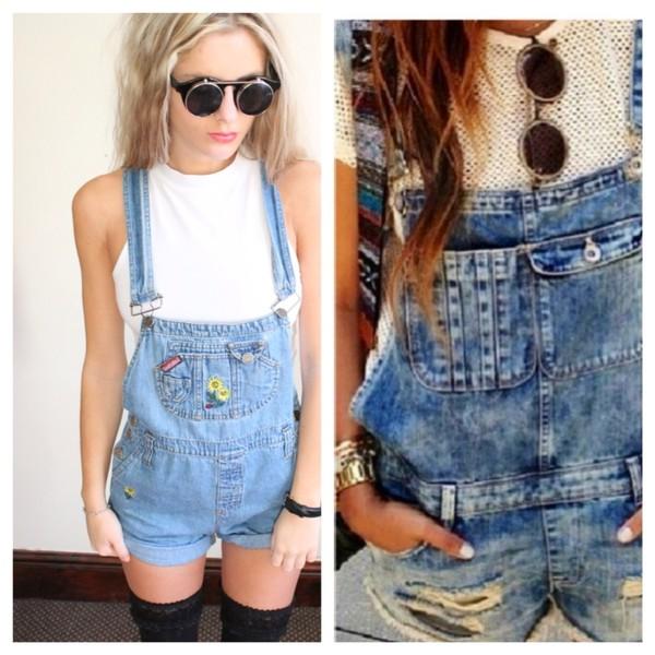 jeans dungarees distressed denim shorts flowers sunglasses