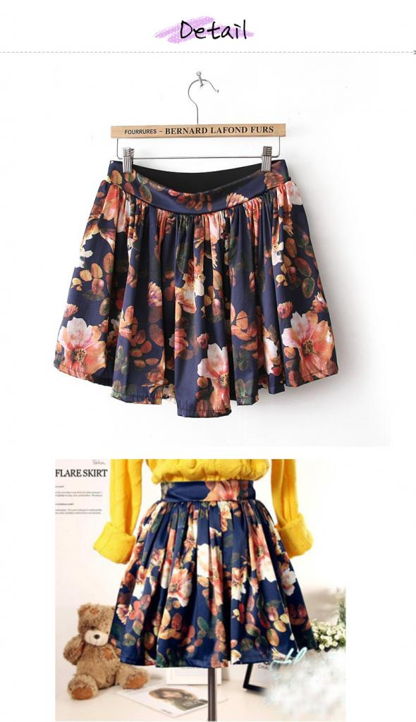 SK74 Celebrity Style High Waisted Retro Floral Print Pleated Skater A Line Skirt | eBay