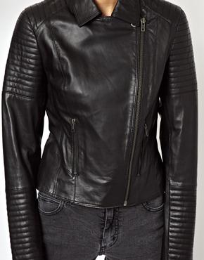 ASOS   ASOS Leather Biker Jacket with Quilt Detail at ASOS