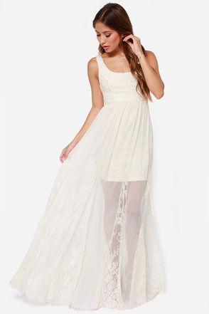 Pretty Cream Dress - Lace Dress - Maxi Dress - $105.00