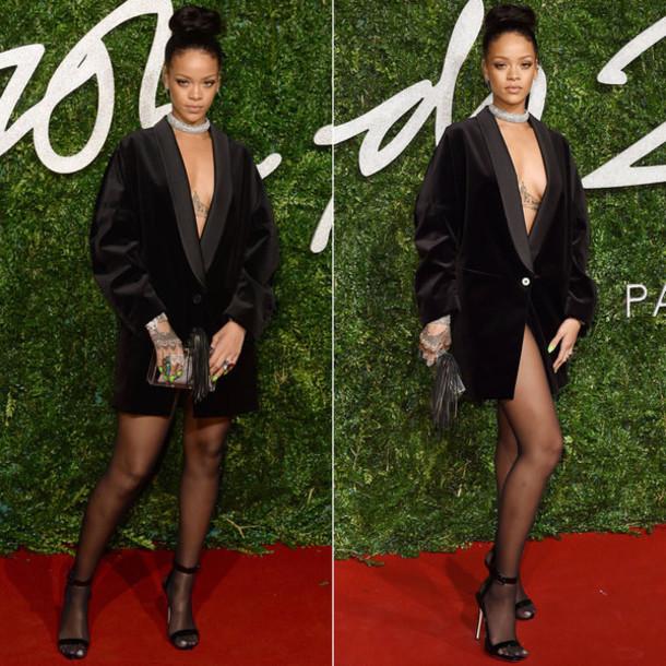 blazer dress sexy celebrity style rihanna dress