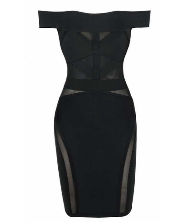 Lara Black Off Shoulder Bandage Dress - DRESSES  :: MyFabulousDivas