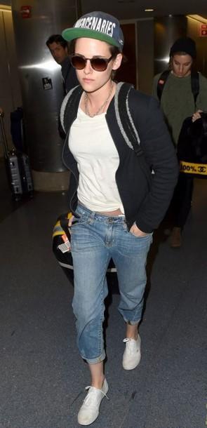 jeans kristen stewart cap hat jacket