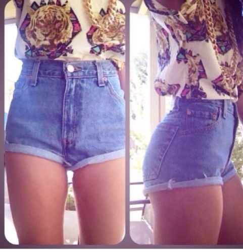 Vintage Denim High Waist Shorts Cuffed or Frayed | eBay