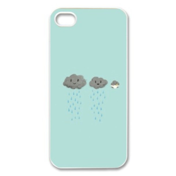 kawaii iphone 5 case phone cover clouds turquoise girly illustration 15599