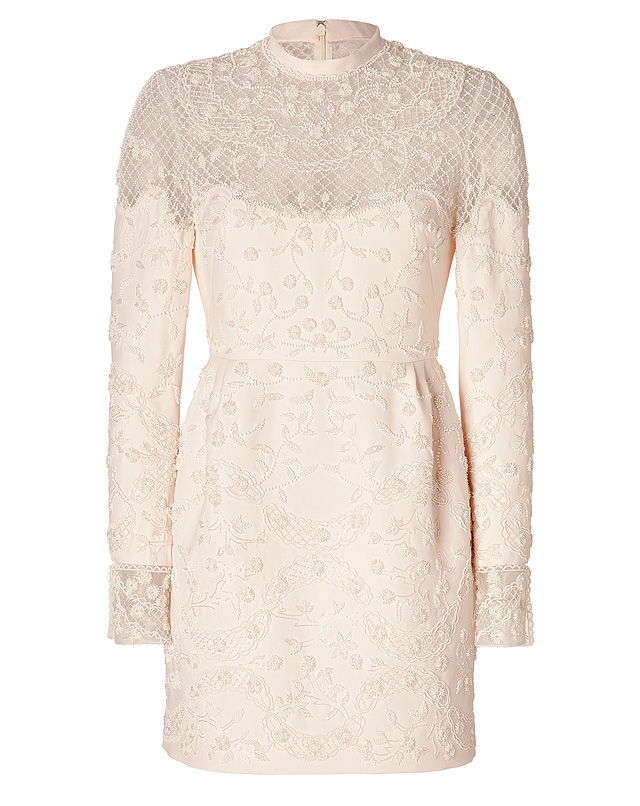 Wool-Silk Beaded Dress in Cream White from VALENTINO | Luxury fashion online | STYLEBOP.com