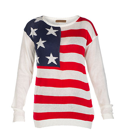 AMERICAN FLAG SWEATER - White - ESSENTIALS   Jimmy Jazz