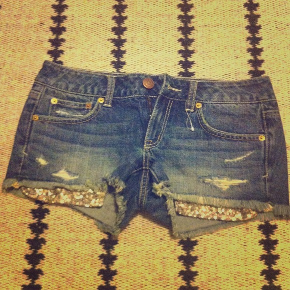 63% off American Eagle Outfitters Denim - AMERICAN EACLE SEQUIN SHORTS from Melissa's closet on Poshmark